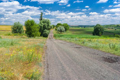 Summer landscape with rural road Royalty Free Stock Images