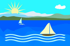 Summer landscape sea with boats  Royalty Free Stock Image
