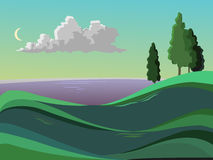 Summer landscape. The sea, meadows and trees. The clouds in the sky. Bright background. Month in the sky Cartoon Stock Photo