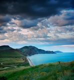 Summer landscape with the sea and mountains Royalty Free Stock Photos