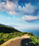 Summer landscape with the sea and mountains Stock Image