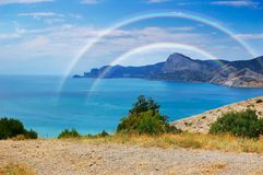 Summer landscape with the sea and mountains Stock Photos