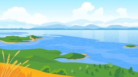 Summer landscape with sea and mountains Stock Image