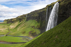 Summer landscape with Seljalandsfoss waterfall, South Iceland Stock Image