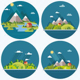 Summer  landscape set. Houses in the mountains among the trees, Royalty Free Stock Photography