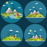 Summer  landscape set. Houses in the mountains among the trees, Royalty Free Stock Photos