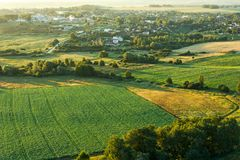 Summer landscape shot from a height. Green fields and forests.  stock images