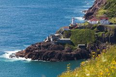Fort Amherst and lighthouse from signal hill stock image