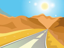Summer landscape. Solar landscape. Road to the mountains. Hot day. Scorching sun. Desert. Vector background Stock Photos
