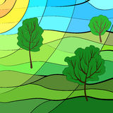 Summer landscape. In stained glass window style Stock Images