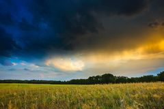 Summer landscape with stormy sky over fields Stock Images