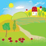 Summer landscape with sun, fields and house Stock Photo