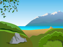 Summer landscape. Sunny weather. Beautiful mountain landscape. Summer landscape with the sea and the beach Royalty Free Stock Image