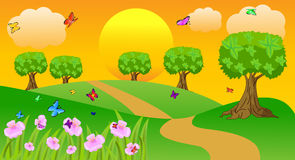 Summer landscape at sunset with butterflies and flowers. Vector illustration Royalty Free Stock Photos