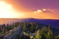 Summer landscape at sunset in National park Bayerische Wald. 