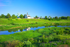 Summer landscape in Suzdal, river Nerl Royalty Free Stock Image