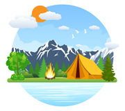 Summer landscape tent and bonfire Royalty Free Stock Photo