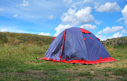 Summer landscape with tents Royalty Free Stock Image