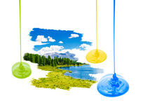 Summer landscape with three paint streams Royalty Free Stock Photo