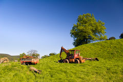Summer Landscape with Tractor Stock Photography