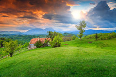 Summer landscape in Transylvania,Holbav,Romania,Europe Stock Photo