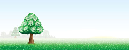 Summer landscape with a tree Royalty Free Stock Photo