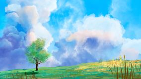 Summer landscape with tree, grass and cloudy sky, digital paingting royalty free illustration