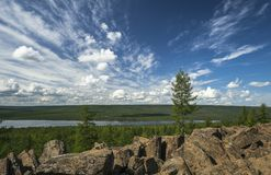 Summer Landscape with tree. Rock and clouds Royalty Free Stock Photos