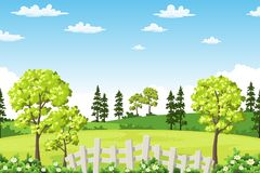 Summer landscape with trees, flowers and fence. Vector illustration Royalty Free Stock Photo