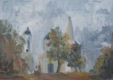 City landscape with oil paints, Church among the trees. Summer landscape with trees, greenery, Park, Church among the trees oil painting, impressionism royalty free illustration