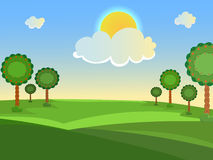 Summer landscape. Trees in the meadow. Clouds and sun. A clear, sunny day. Vector background Stock Images