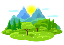 Summer landscape with trees, mountains and hills. Seasonal illustration.  Stock Images