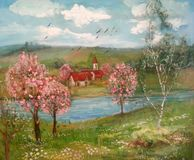 Summer landscape, trees, river and rural houses Stock Photo
