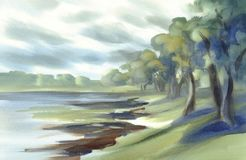 Summer landscape with trees watercolor Stock Photo