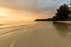 Sunset landscape on Koh Kood. Summer landscape on tropical koh Kood island in Thailand. Colorful sunset panorama taken on Klong Chao Stock Image