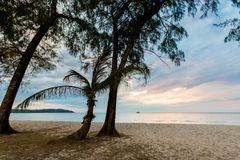Sunset landscape on Koh Kood. Summer landscape on tropical koh Kood island in Thailand. Colorful sunset panorama taken on Klong Chao Stock Photo