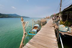 Tropical landscape of Koh Kood. Summer landscape on tropical koh Kood island  in Thailand. Landscape with pier taken from Ao Yai beach Royalty Free Stock Image