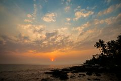 Tropical landscape of Koh Kood. Summer landscape on tropical koh Kood island  in Thailand. Landscape with sea taken from Ao Tapao beach during sunset Royalty Free Stock Photos