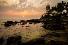 Tropical landscape of Koh Kood. Summer landscape on tropical koh Kood island  in Thailand. Landscape with sea taken from Ao Tapao beach during sunset Stock Photos