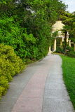 Summer Landscape In Tropical Ornamental Park With Walkway And Po Stock Image