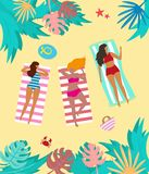 Summer landscape with tropical plants and tourists. Vector illustration stock illustration