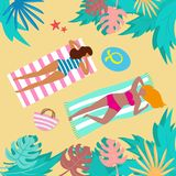 Summer landscape with tropical plants and tourists. Vector illustration royalty free illustration