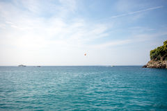 Summer landscape, turquoise sea under blue sky. In Greece Royalty Free Stock Photo