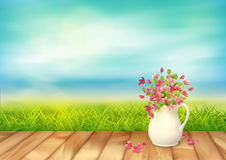 Summer Landscape Vector. Vector summer landscape calm and clear. Green grass, bouquet in ceramic jug with fallen petals and flowers, textured wooden floor vector illustration