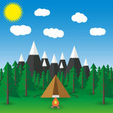 Summer  landscape Vector flat illustration Stock Photo