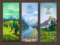 Summer landscape vertical banners set Stock Photo