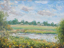 Summer landscape, a village in the distance, flowers, trees, clouds. Original oil painting summer landscape, a village in the distance, flowers, trees, clouds on Stock Photos