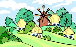 Summer landscape of the village. on hill stands a mill and house. hand-drawn. It can be used as postcard. Vector Stock Images