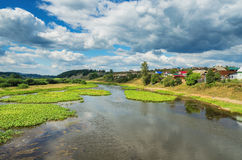 Summer landscape with village by the river Royalty Free Stock Image