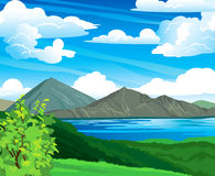 Summer landscape with volcano and lake Stock Photography